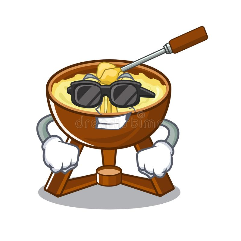 Super cool cheese fondue with in mascot shape. Vector illustration stock illustration