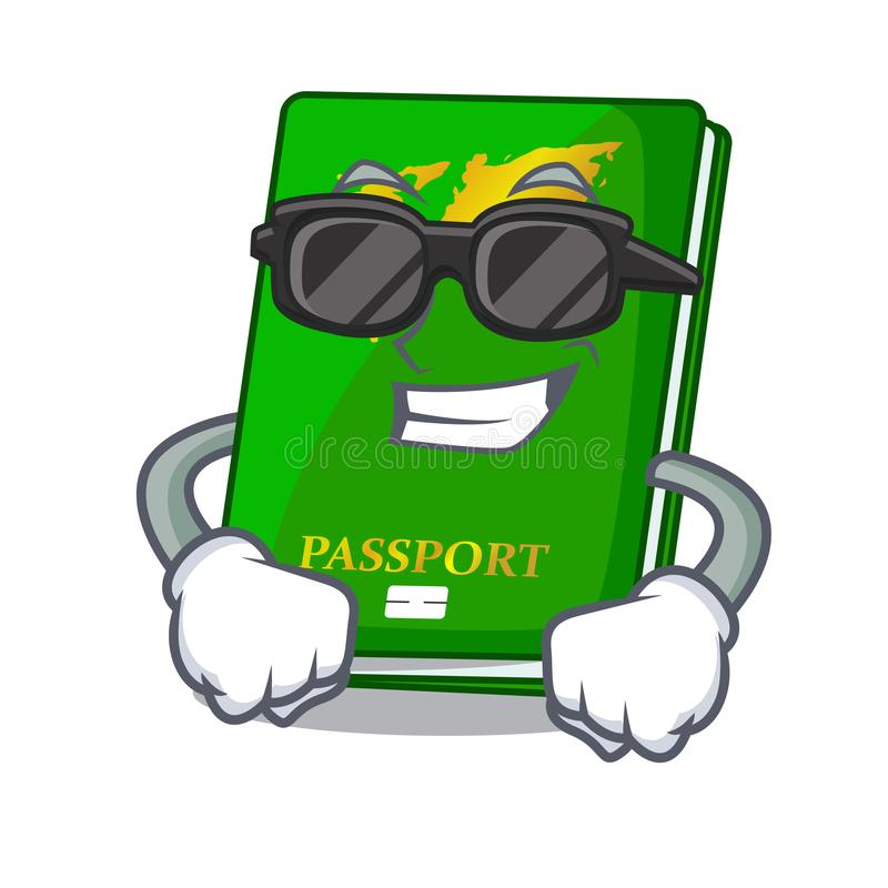 Super cool green passport in the cartoon shape. Vector illustration royalty free illustration