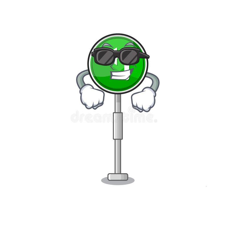 Super cool turn left cartoon on side mascot road. Vector illustration royalty free illustration