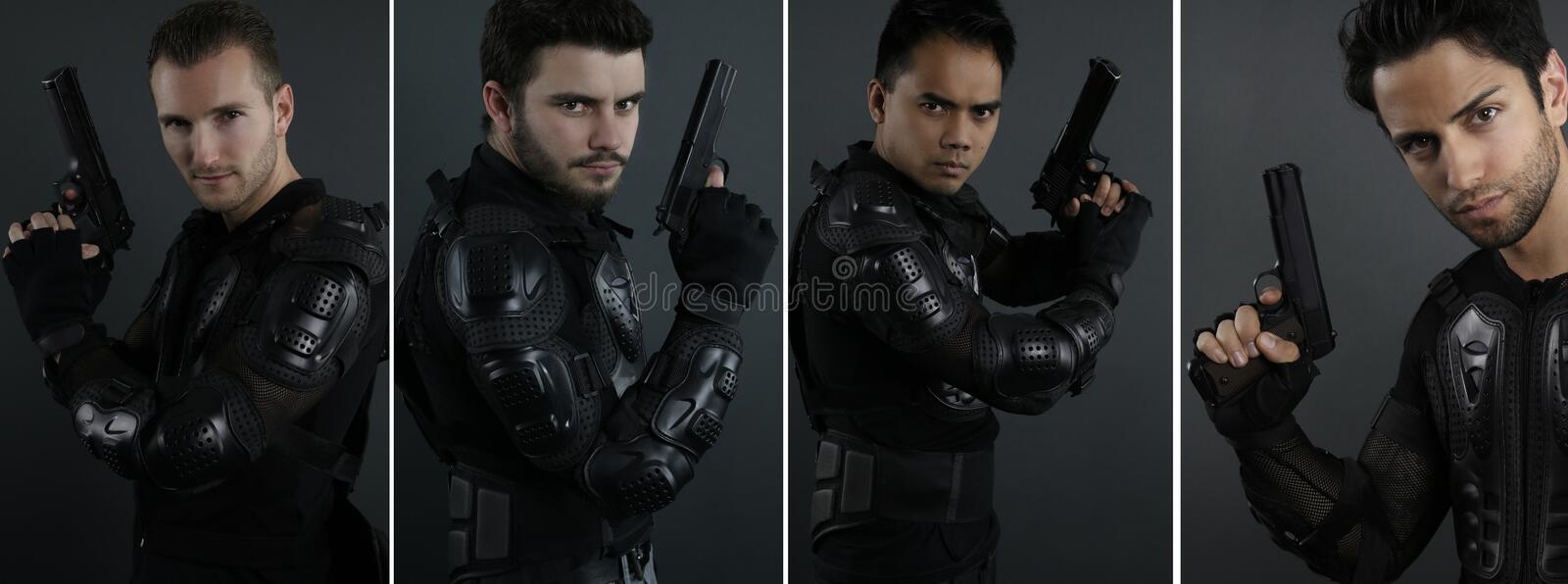 Super cops - portrait of four men of the special forces stock images