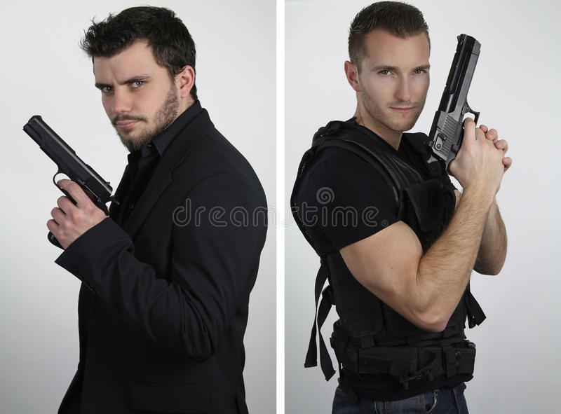 The super cops - two young cops posing stock image