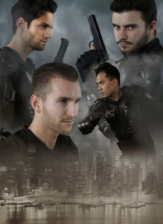 Super cops - vier mensen van de speciale krachten stock fotografie