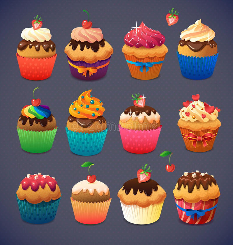 Super cupcake pack. Chocolate and vanilla icing. Cupcakes. Strawberry and cherry and cream royalty free illustration