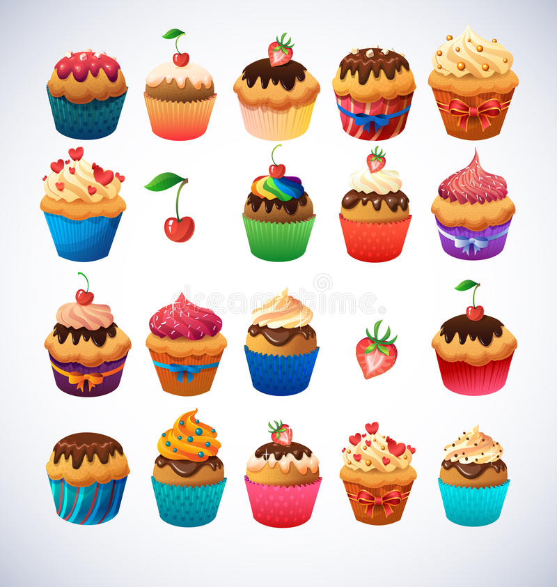 Super cupcake pack. Chocolate and vanilla icing. Cupcakes. Strawberry and cherry and cream stock illustration