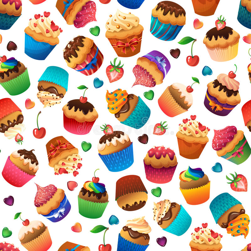 Super cupcake seamless pattern. Chocolate and. Super cupcake seamless pattern. Chocolate cherry vanilla desserts royalty free illustration