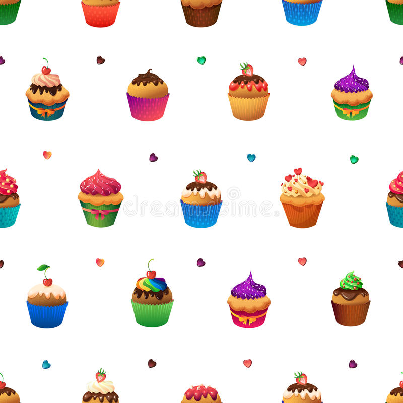 Super cupcake seamless pattern. Chocolate and. Vanilla desserts stock illustration