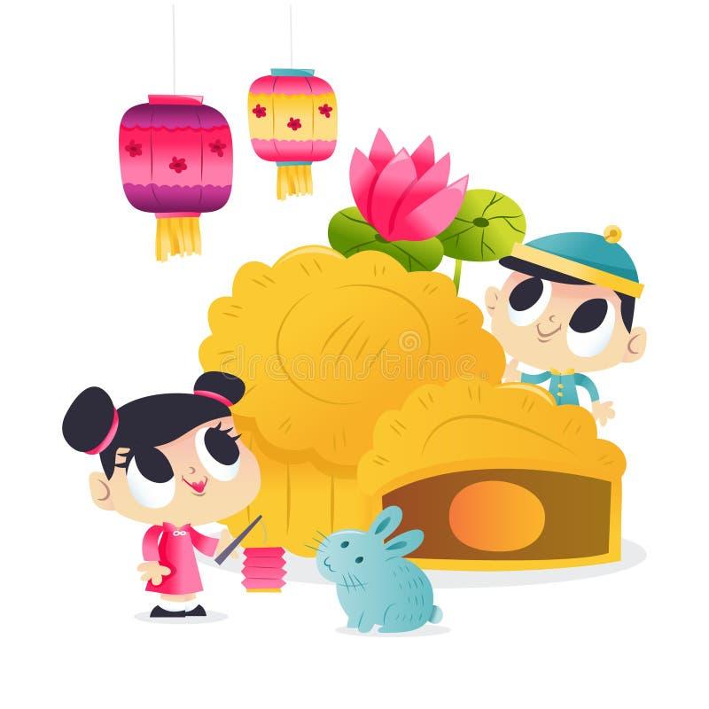 Super Cute Mid Autumn Festival Mooncake Kids Lantern. A cartoon vector illustration of super cute mid autumn festival with giant mooncake, happy kids, lanterns stock illustration