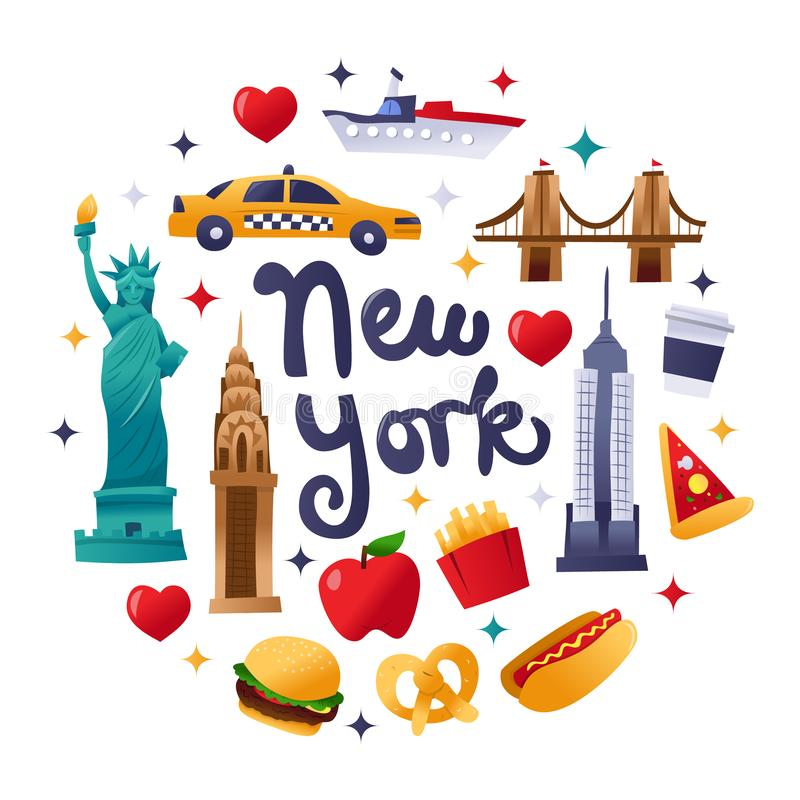 Super Cute New York Culture Round Decorations vector illustration