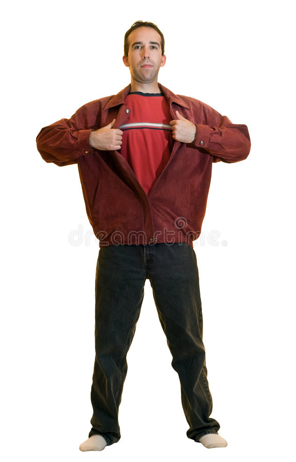 Super Dad. A young male ripping open a red jacket pretending to be a super hero, isolated on a white background royalty free stock photography