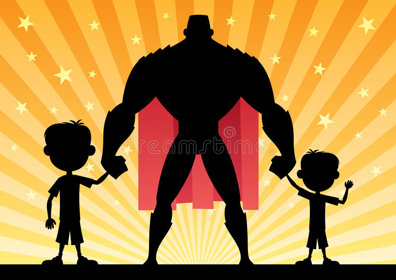 Super Dad with 2 Sons vector illustration