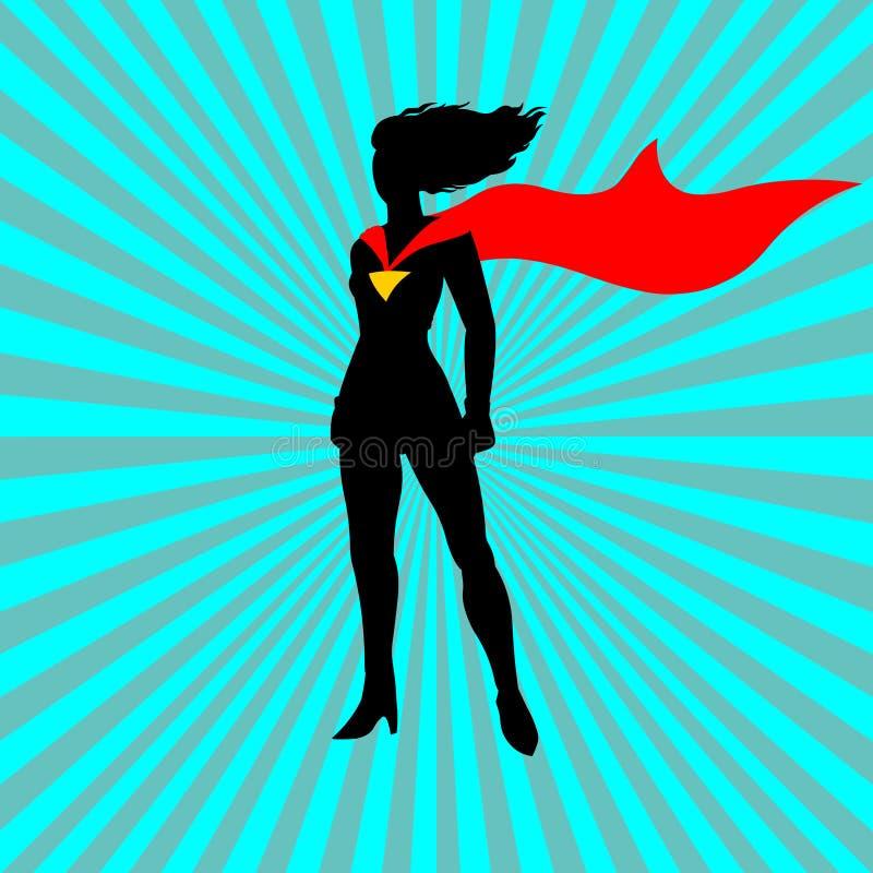 Super dama Kreskówki super kobieta z czerwoną taśmą ilustracji