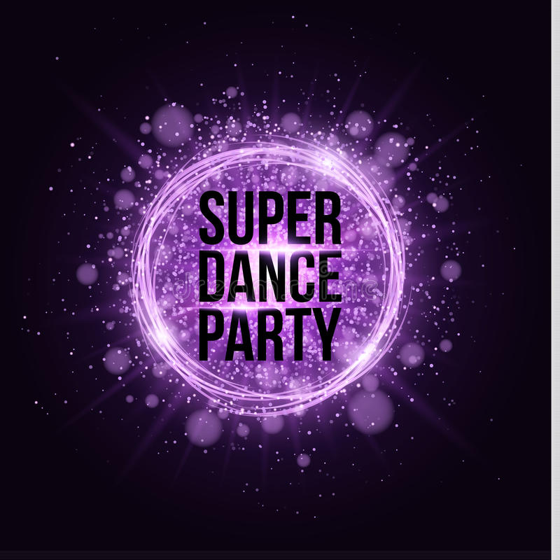 Super dance party. Glowing neon magical banner made of neon strips of purple dust. Bright violet flash. Glare bokeh and purple ray vector illustration