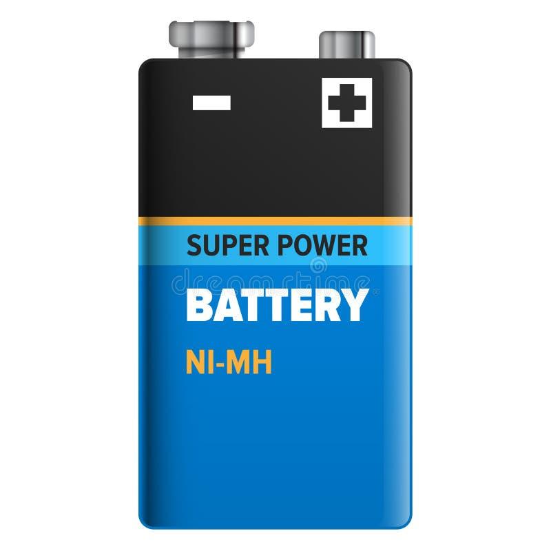 Super die Machtsbatterij op Wit wordt geïsoleerd Vector stock illustratie
