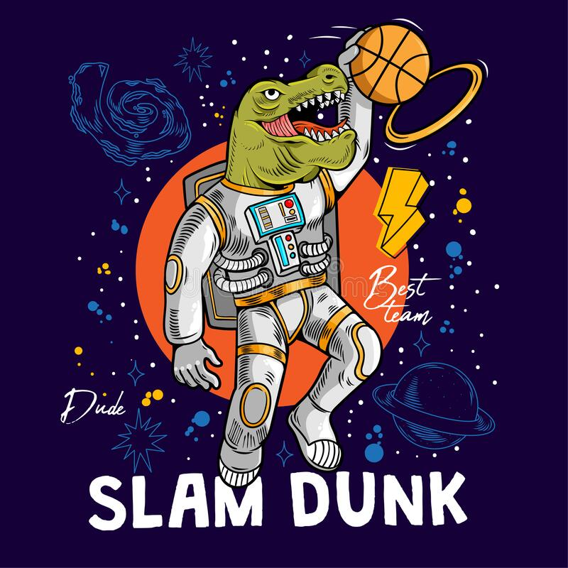 Free Super Dino T-rex Play Basketball Stock Images - 170239884