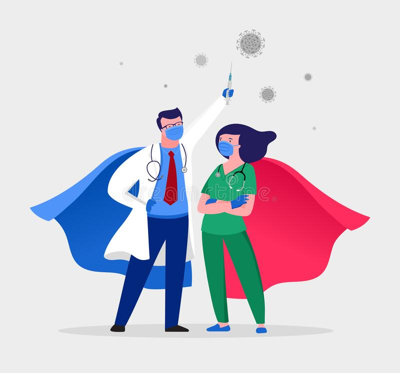 Free Super Doctor And Nurse Wearing Medical Masks And Capes, Superhero Couple, Vector Cartoon Illustration Royalty Free Stock Image - 177565096