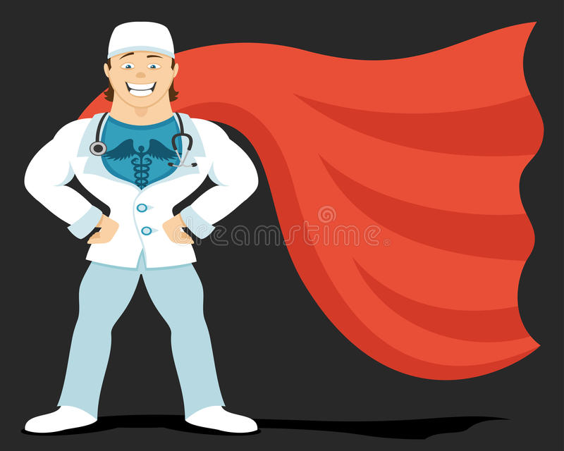Super doctor in red raincoat stock illustration