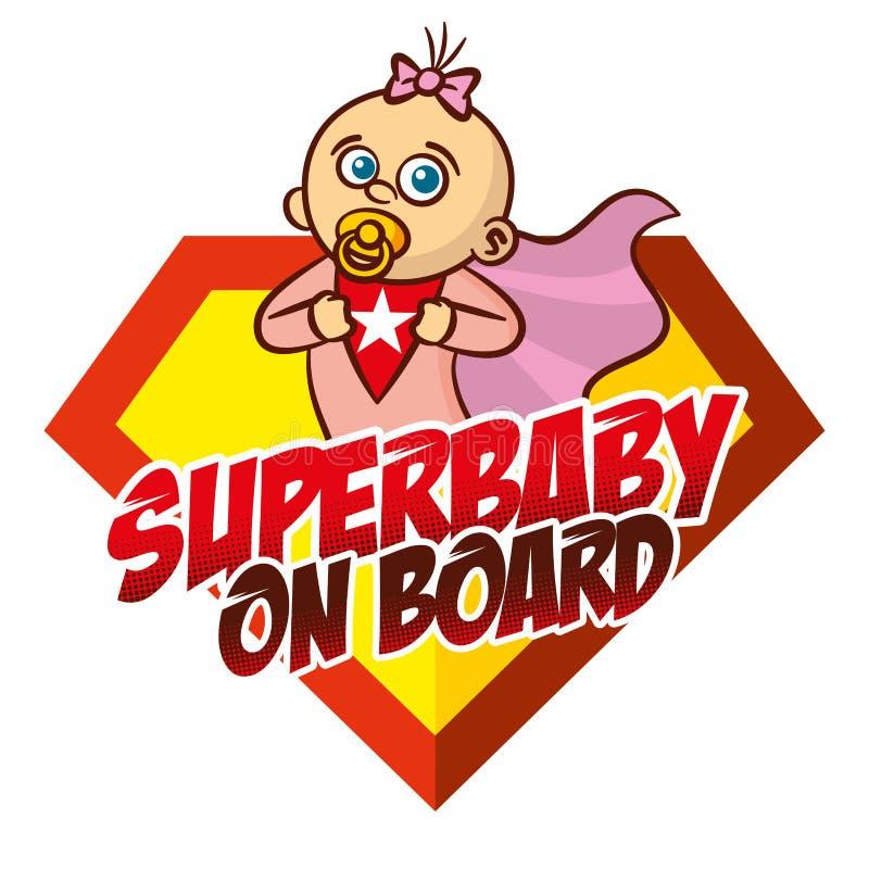Super dziecko na pokładzie bohatera loga royalty ilustracja