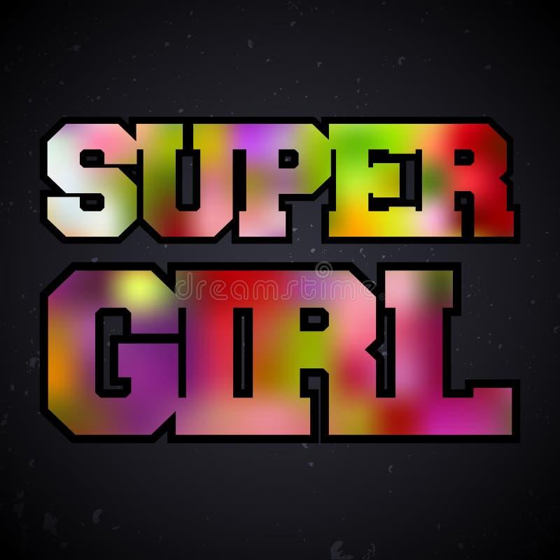 Super dziewczyna rocznika znaczek ilustracja wektor