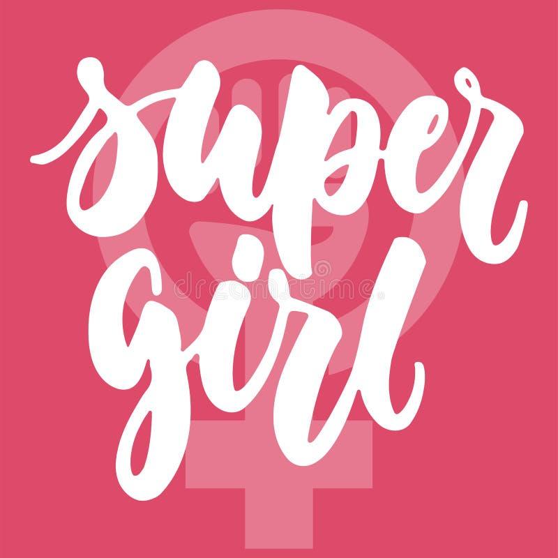 Super dziewczyna - wręcza patroszonego literowanie zwrot o kobiecie, kobieta, feminizm na różowym tle Zabawa atramentu szczotkars ilustracji