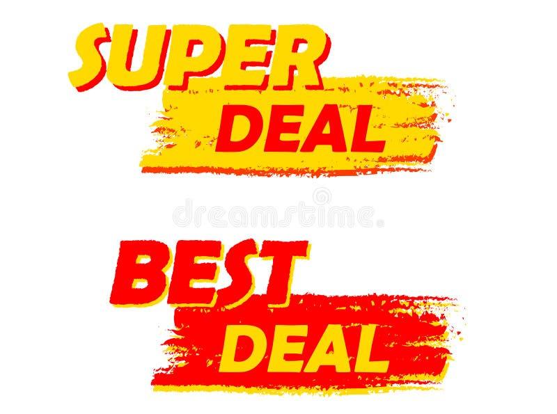 Super en beste overeenkomst, gele en rode getrokken etiketten stock illustratie