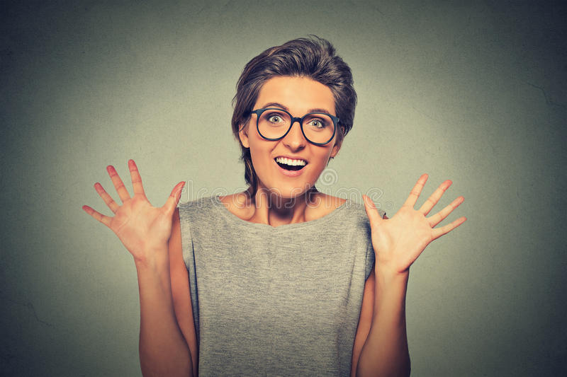 Super excited funky girl looking thrilled very happy stock images