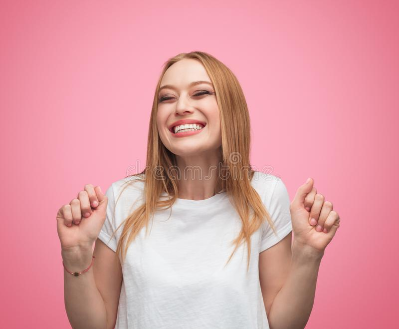 Super excited woman in anticipation royalty free stock photo
