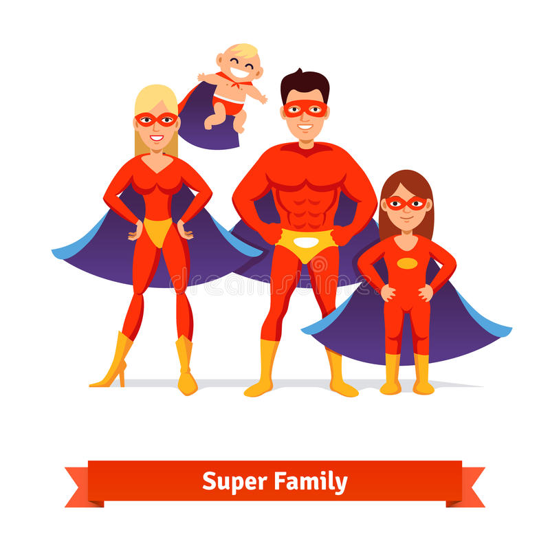 Super familie Vader, Moeder, Dochter, Baby vector illustratie