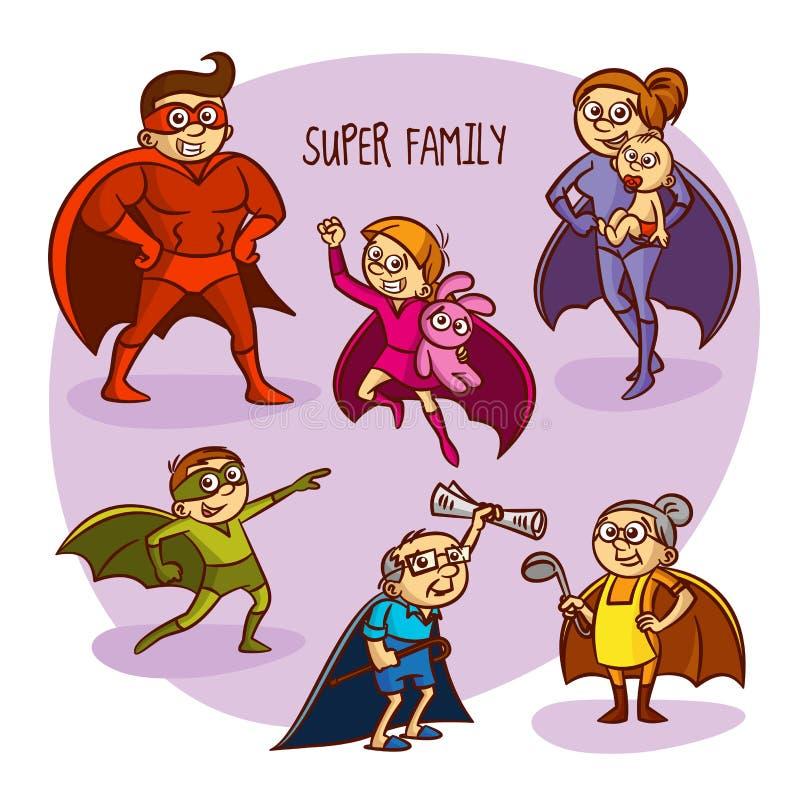 Super Family Superheroes Kids Vector Illustration royalty free illustration