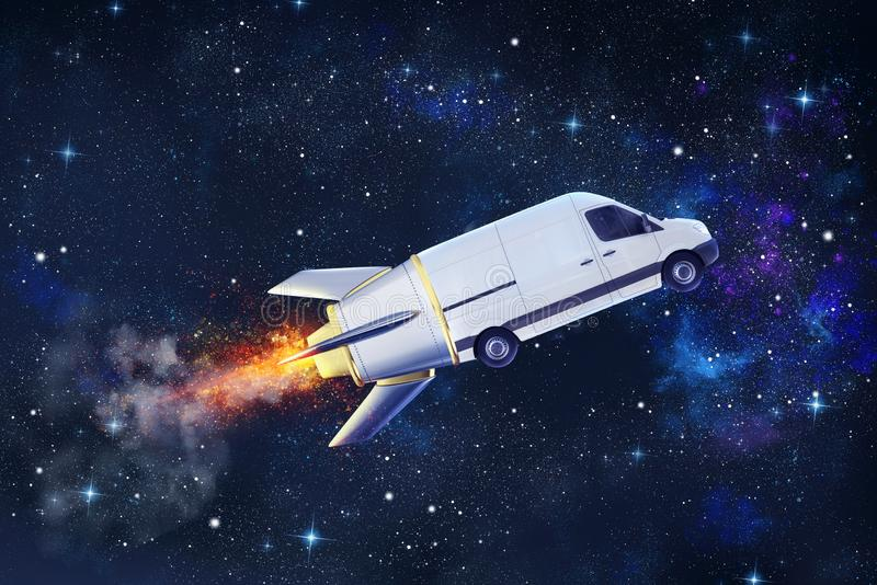Super fast delivery of package service with flying van like a rocket. Super fast delivery of package service with flying van in space like a rocket royalty free illustration