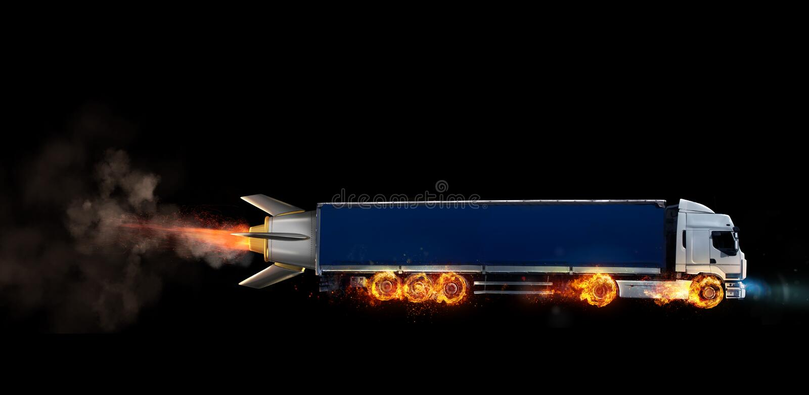 Super fast delivery of package service with a truck with wheels on fire stock image