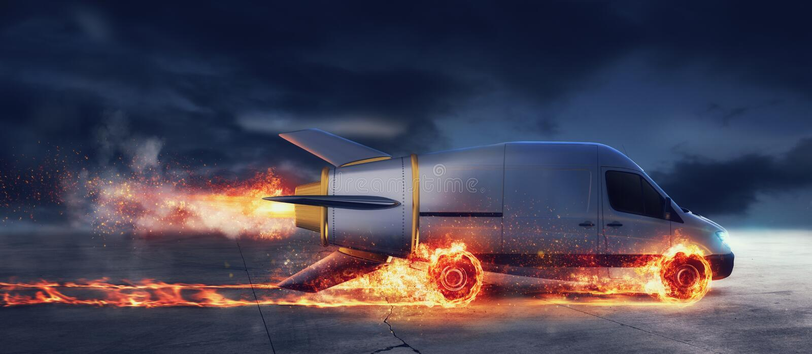 Super fast delivery of package service with van like a rocket with wheels on fire. Super fast delivery of package service van like a rocket with wheels on fire stock illustration