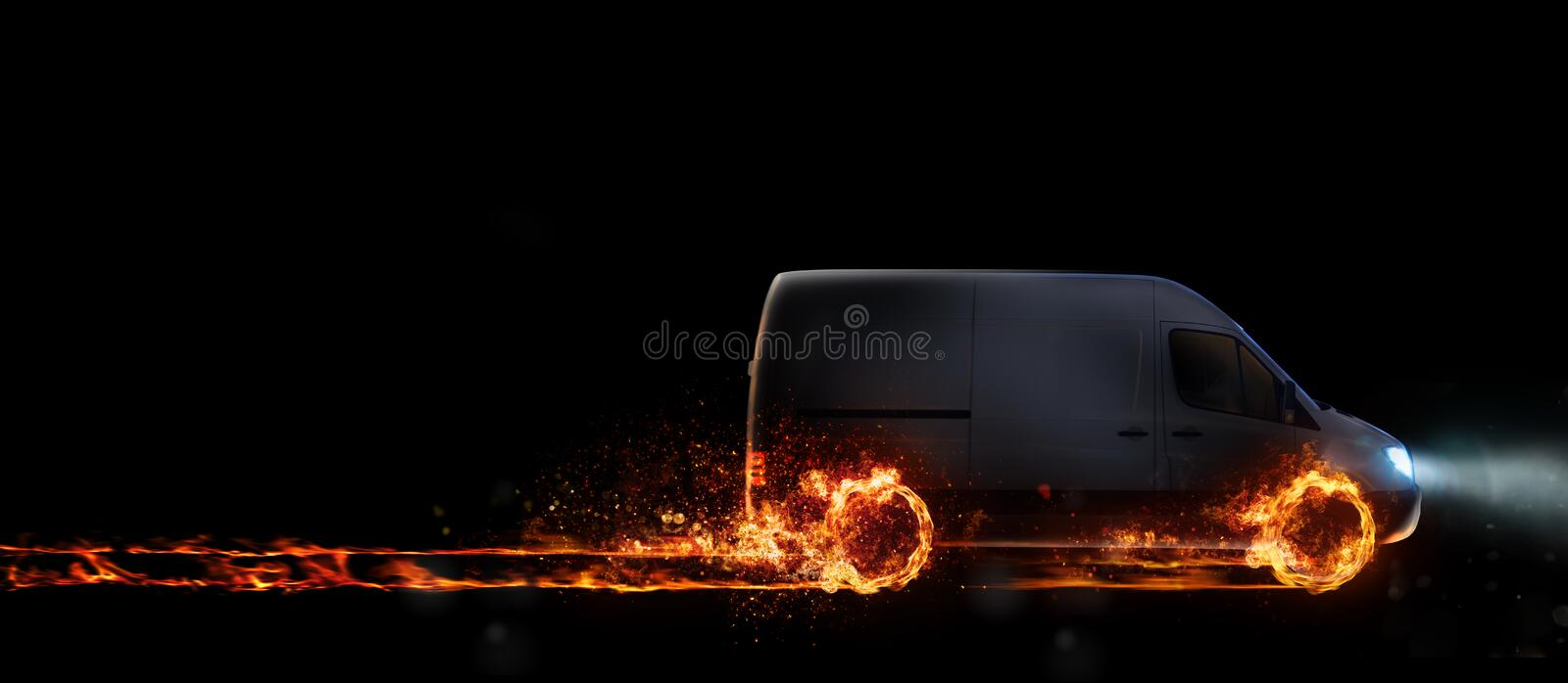 Super fast delivery of package service with van with wheels on fire. 3D Rendering vector illustration