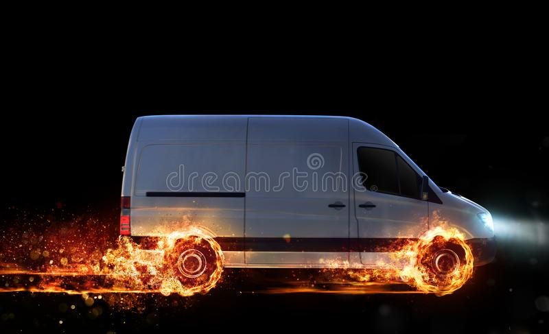Super fast delivery of package service with van with wheels on fire stock images