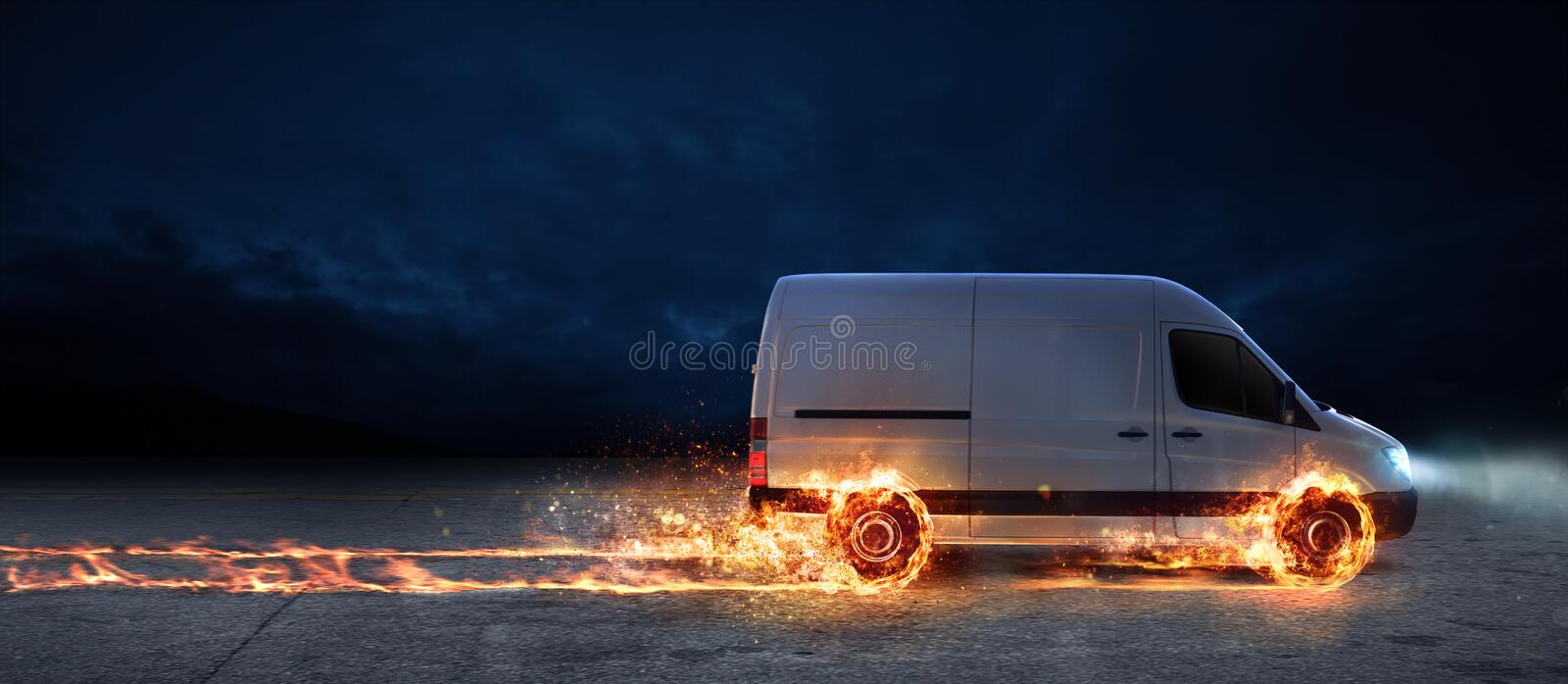 Super fast delivery of package service with van with wheels on fire stock image