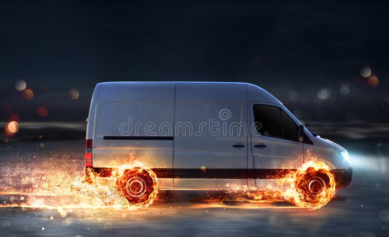 Super fast delivery of package service with van with wheels on fire royalty free stock photos