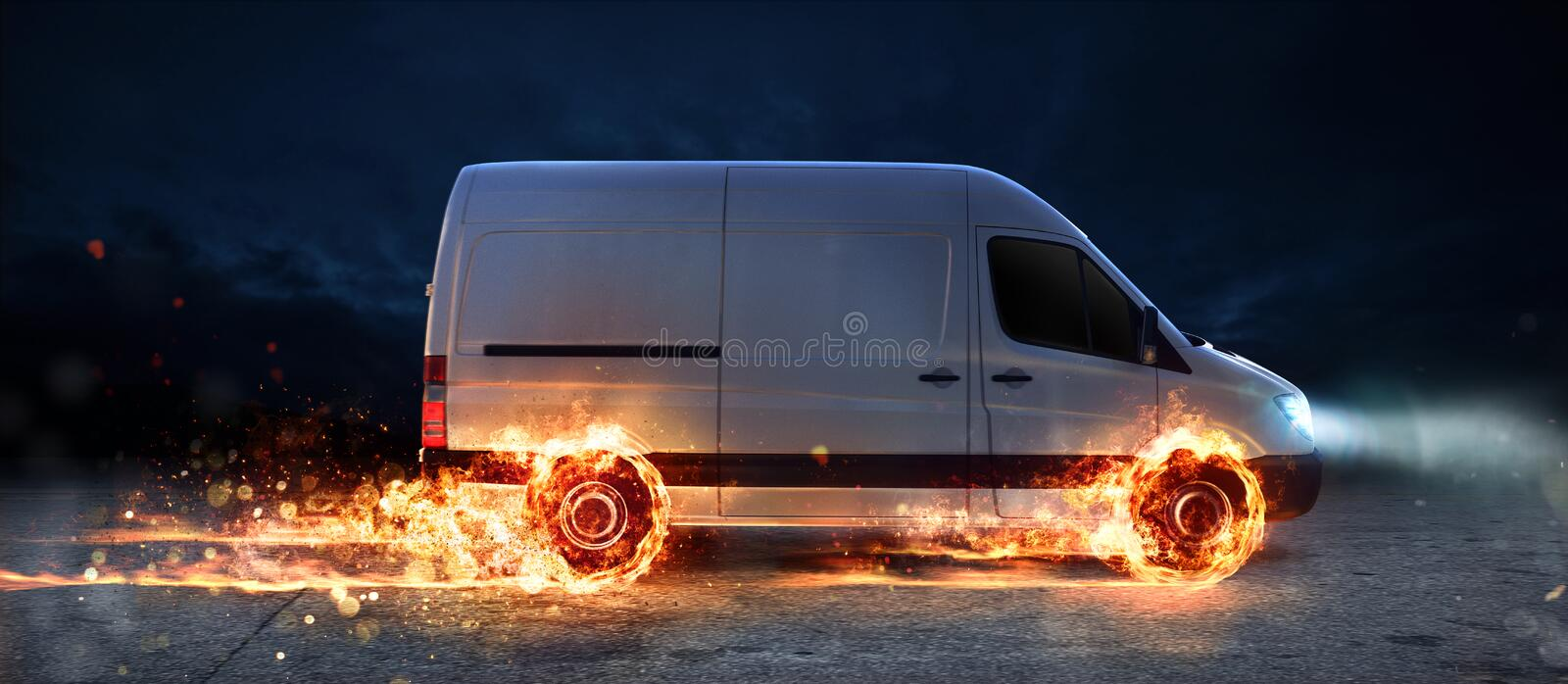 Super fast delivery of package service with van with wheels on fire stock photography