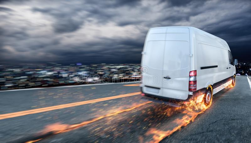 Super fast delivery of package service with van with wheels on fire. Super fast delivery of package service. Van with wheels on fire on the road stock image