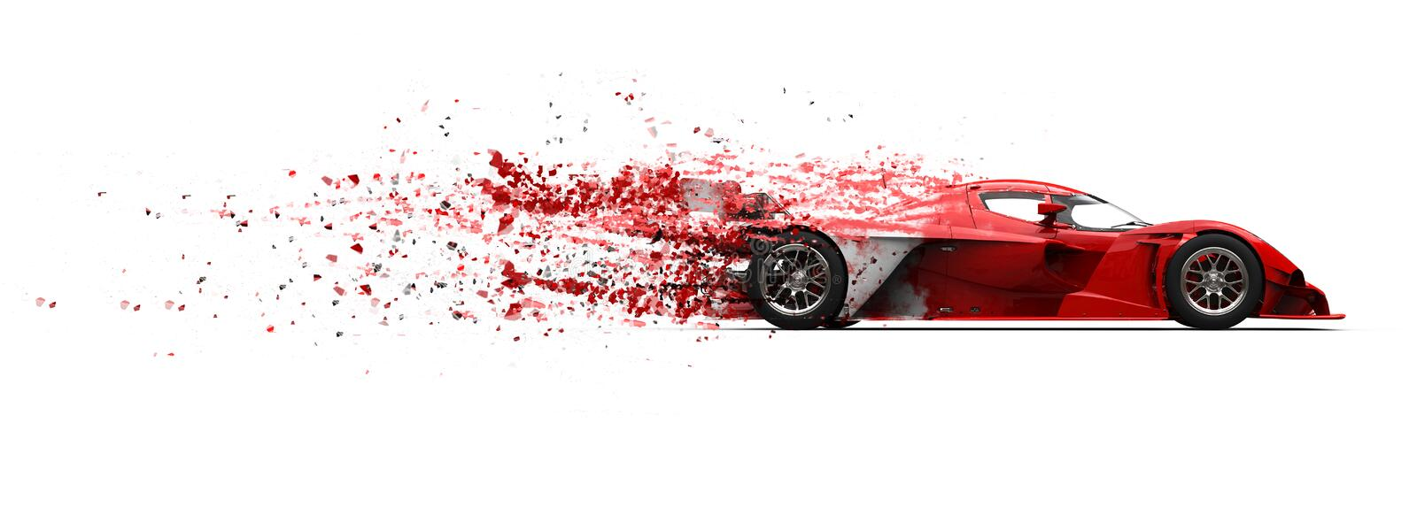 Super fast red sports car - paint disintegrating effect. Isolated on white background vector illustration