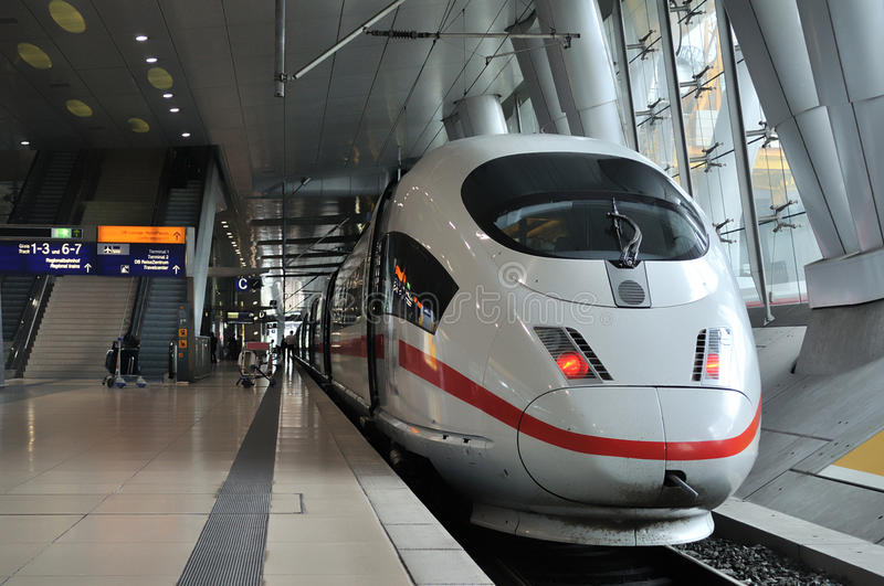 Super fast train. Front view of a Intercity Express (ICE) train in Frankfurt am Main Railway Station, Germany stock images