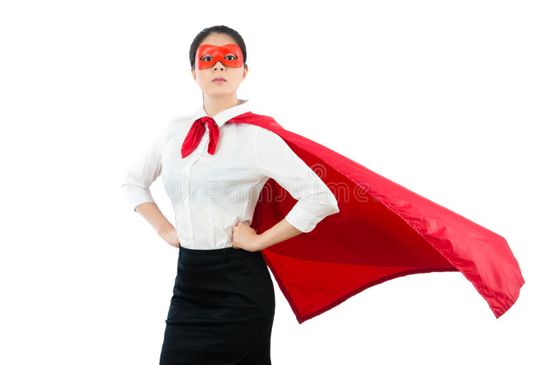 Super female office worker over white background stock photo