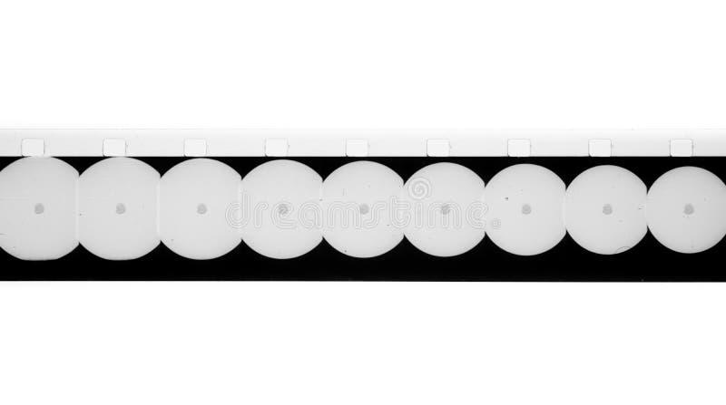 Super film leader film tail van 8 mm met ronde vorm filmachtergrond stock afbeelding