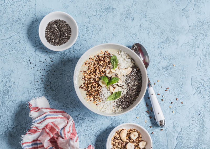 Super food smoothie bowl. Healthy Breakfast. stock images