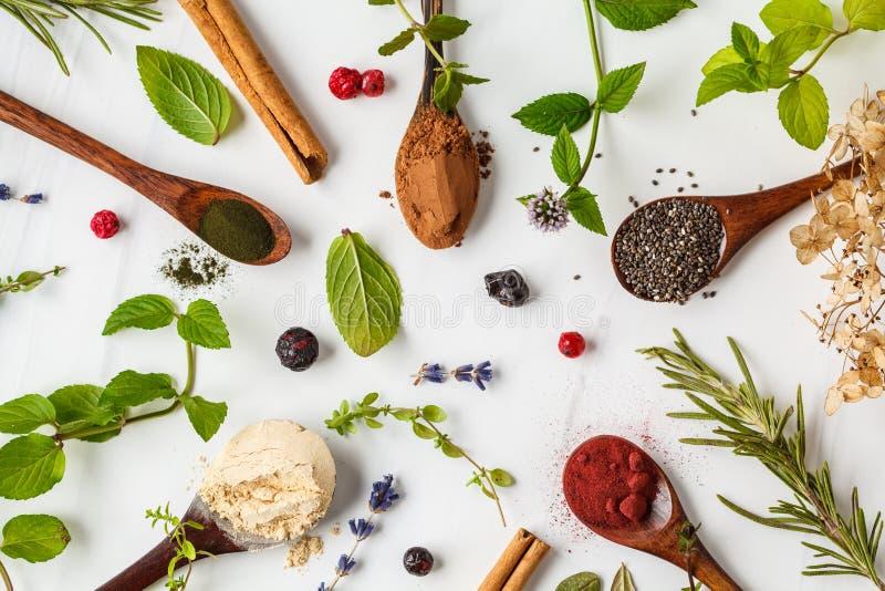 Super foods flatlay: maca proszek, beetroot proszek, chia i konopie, spirulina w drewnianych łyżkach na białym tle zdrowe je?? zdjęcie royalty free