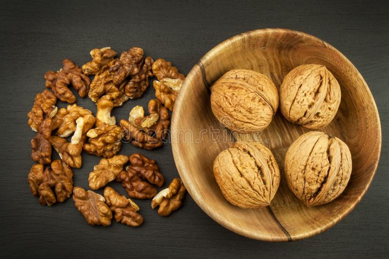 Super foods for human brain. Nuts on a wooden table. stock images