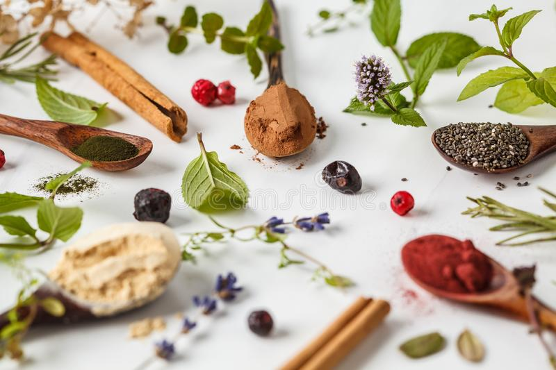 Super foods: maca powder, beetroot powder, chia and hemp, spirulina in wooden spoons on white background. Healthy eating concept stock image