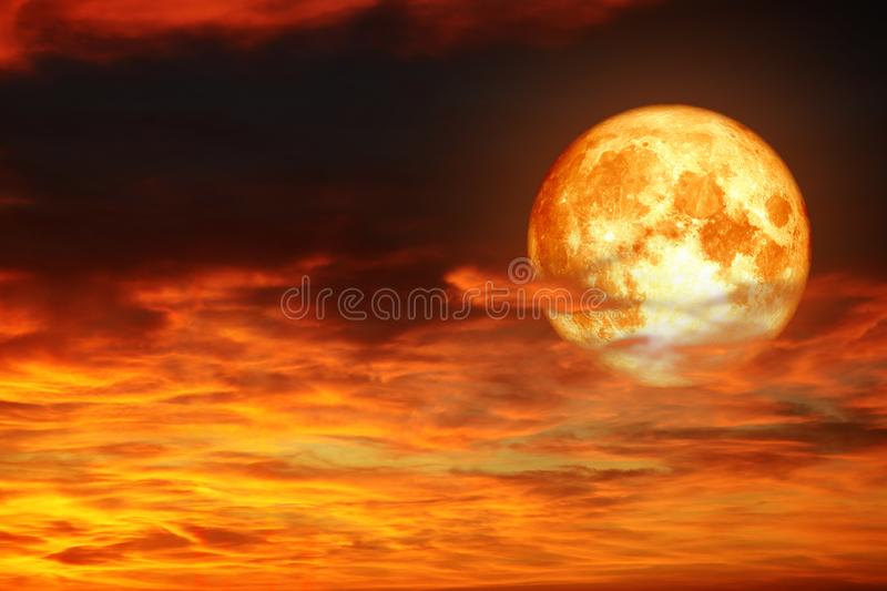 Super full blood moon back sunset hot red orange cloud royalty free stock images
