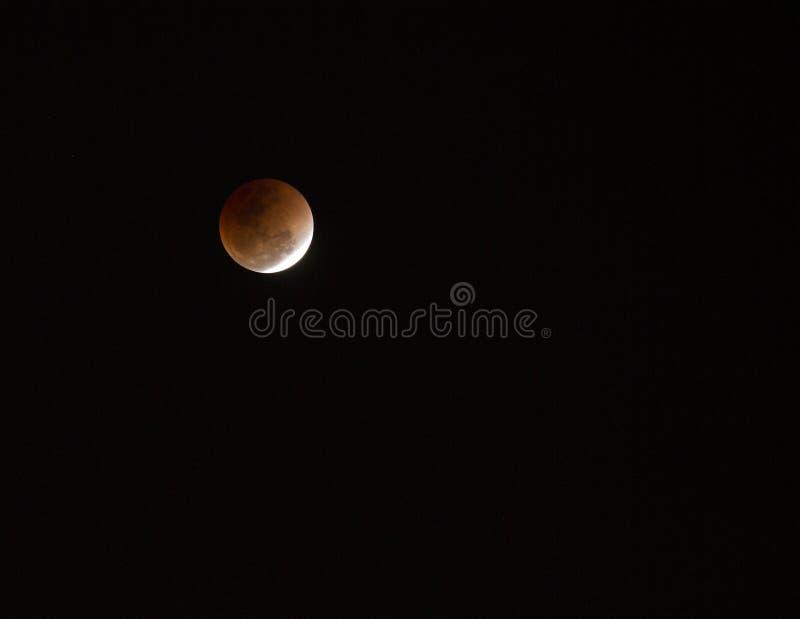 Super full blood moon. On dark sky stock images