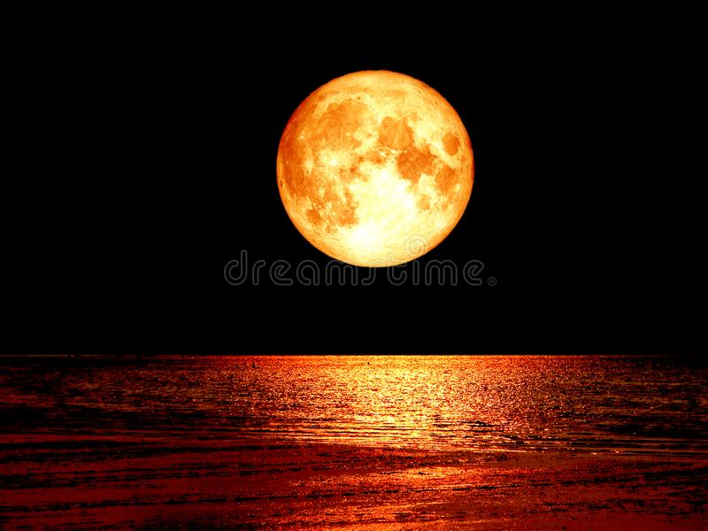 super full blood moon on the sea and night sky backgroud stock image