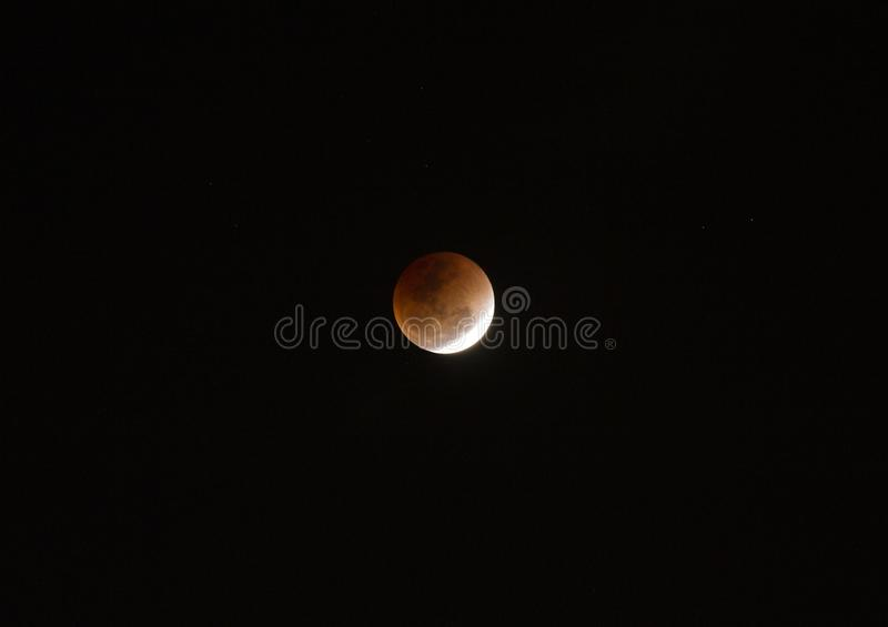 Super full blood moon. On dark sky royalty free stock photo