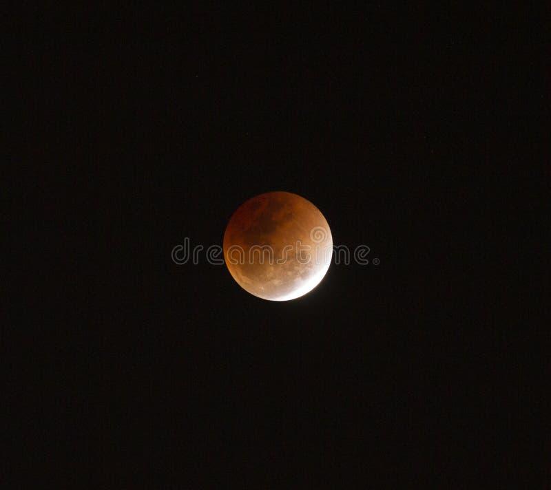Super full blood moon. On dark sky stock photos